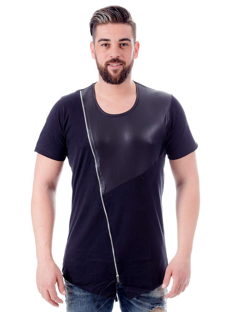 Modagen.com | Erkek Giyim, Erkeklere Özel Alışveriş Sitesi ~ Yeni Sezon Fermuar ve Deri Detaylı Uzun Kesim Erkek Tişört