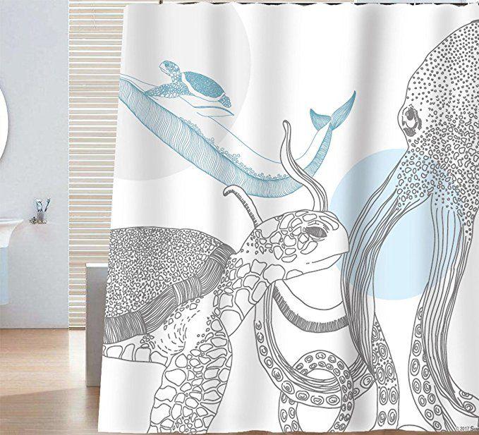 Amazon Com Sunlit Designer Ocean Animals White Fabric Shower