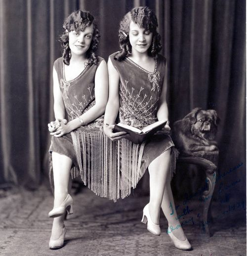 Daisy and Violet Hilton, circa 1920s, who later went on to star in Tod Browning's 1932 masterpiece Freaks. Long before they appeared in Freaks, the pretty Siamese twins (originally born in England) toured the United States, performing wonderful musical numbers in auditoriums to adoring audiences and working with another English-born entertainer,Bob Hope, early in his career.