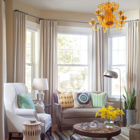 25 best ideas about bay window curtains on pinterest - Living room bay window treatments ...