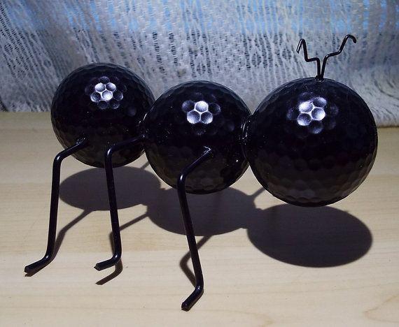 Ant figurine golf ball repurposed steel yard decor by DJLDesigns05