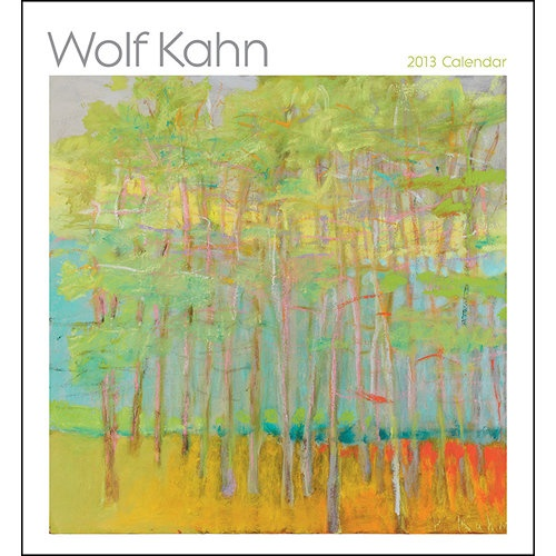 Wolf Kahn Wall Calendar: In these 12 landscapes by Wolf Kahn (American, b. 1927), vivid, improbable, yet harmonic colors awaken sensory delights—the sunlit glow of a florid meadow, a rustling of leaves shaken by a breeze, the cool tranquility within a stand of birch trees.  $13.99  http://calendars.com/Contemporary-Art/Wolf-Kahn-2013-Wall-Calendar/prod201300002122/?categoryId=cat00009=cat00009#