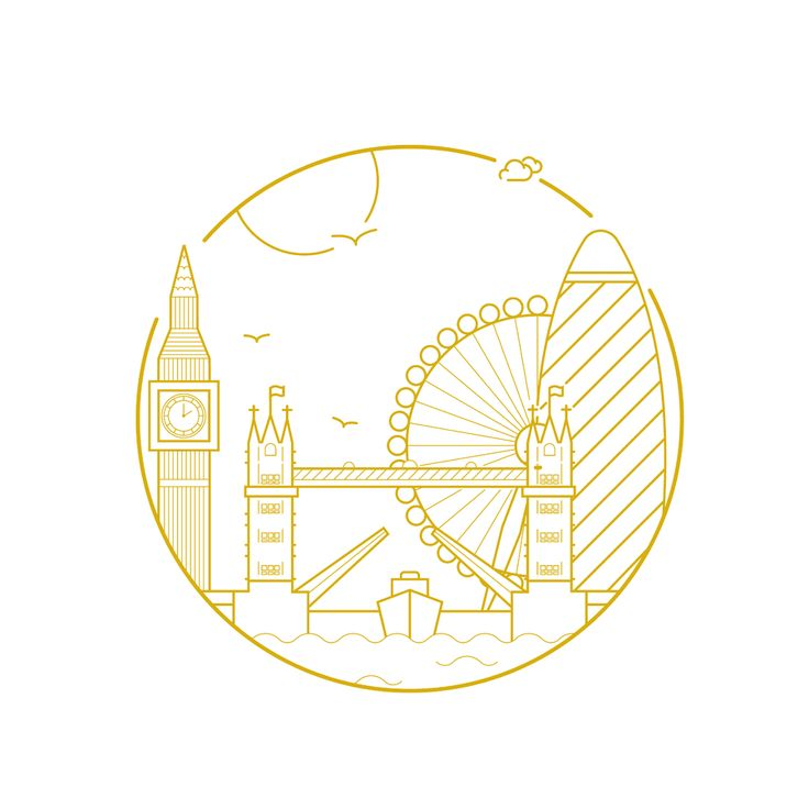 City Illustrative Prints, London by Dean Robert Smith | Bridge, Clock tower, Big Ben, Eye, Thames