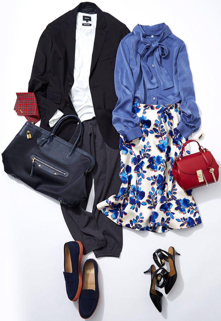サテンブラウスと花柄スカートで品よく、美しく! クラシックなデザインや女性らしいディテールを使ってレディに仕上げるコーディネートをルミネ北千住のショップアイテムからレッスン! ベーシックなアイテムを使ったこなれカジュアルが得意の人気スタイリスト土居悦子さんがリアルコーデをご紹介します。
