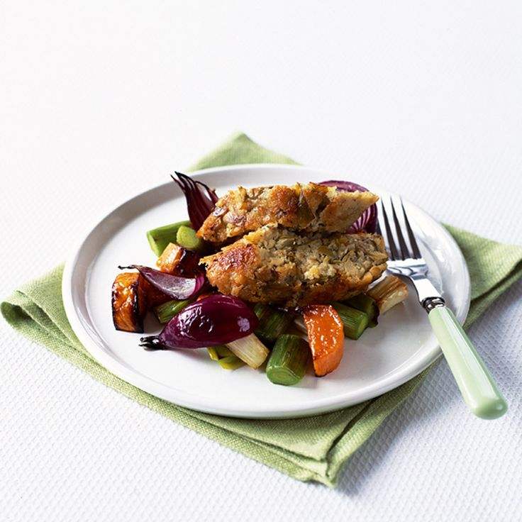 With artichokes and sweet potatoes this mixed vegetable nut roast makes the perfect vegetarian Sunday lunch dish.
