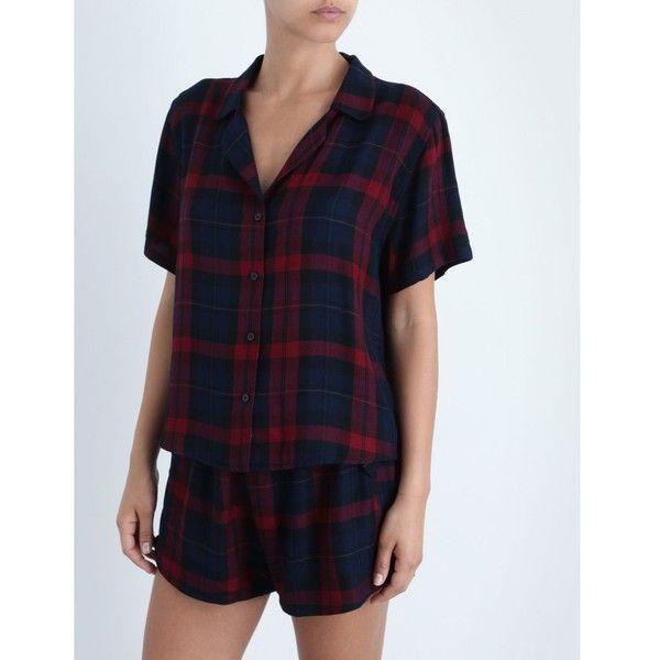 Rails Hunter flannel pyjama set (£160) ❤ liked on Polyvore featuring intimates, sleepwear, pajamas, short sleeve flannel pajamas, plaid flannel pajamas, short sleeve pajama set, flannel pjs and navy blue slip