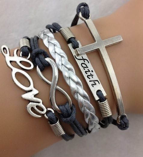 Armband grijs-zilver Infinity-Love-Faith-Cross 06
