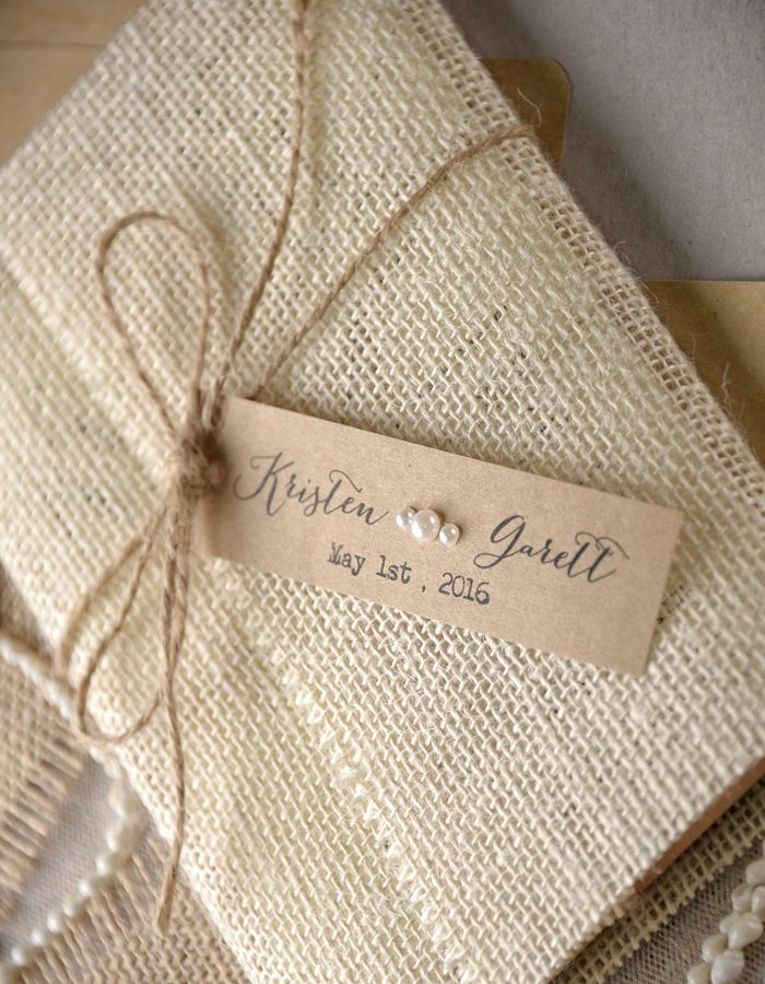 Rustic wedding invitations made with burlap from @4LOVEPolkaDots