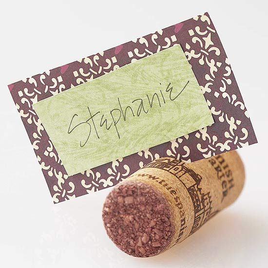 Use an old cork and decorative paper to make cute Thanksgiving place cards. More DIY place cards: http://www.bhg.com/thanksgiving/indoor-decorating/easy-to-make-place-cards-for-a-thanksgiving-table/?socsrc=bhgpin102612corkplacecards#page=10