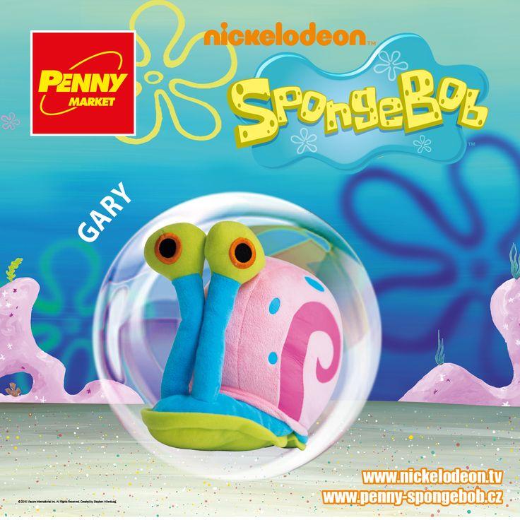 """Velké oči, dlouhá tykadla, růžová ulita a modré puntíky? To je přece Gary, mazlíček SpongeBoba. Ačkoliv je Gary podmořský šnek, vydává """"mňau"""" jako kočka.   Sbírejte známky za nákupy v Penny a získejte plyšového Garyho! Za každých 200 Kč nákupu dostanete 1 známku. Více informací o známkách a cenách SpongeBoba a jeho kamarádů najdete na www.penny-spongebob.cz."""