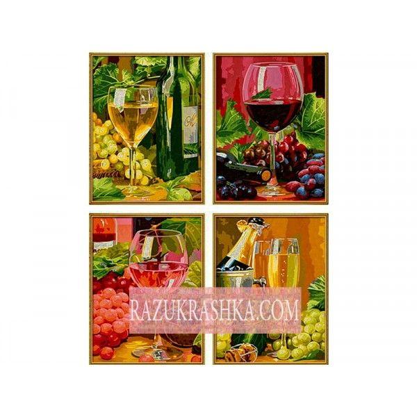 Раскраска по номерам Schipper Дегустация вин 4 шт.. Купить за 2379 р. в магазине Разукрашка.