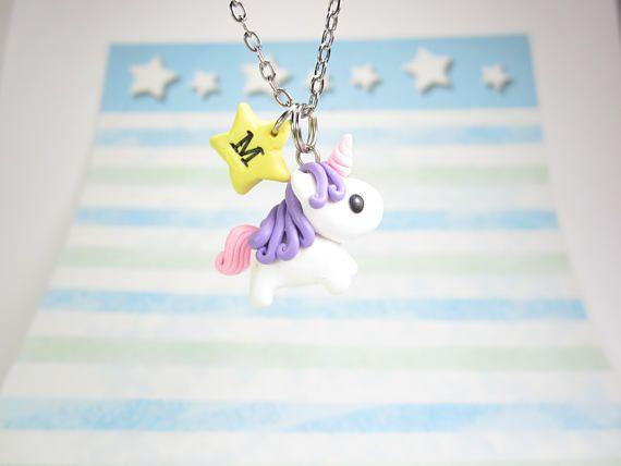 Collana di unicorno, collana iniziale, collana personalizzata, gioielli di unicorno, carina regalo unico, migliore amico regalo, regalo di unicorno, collana stella