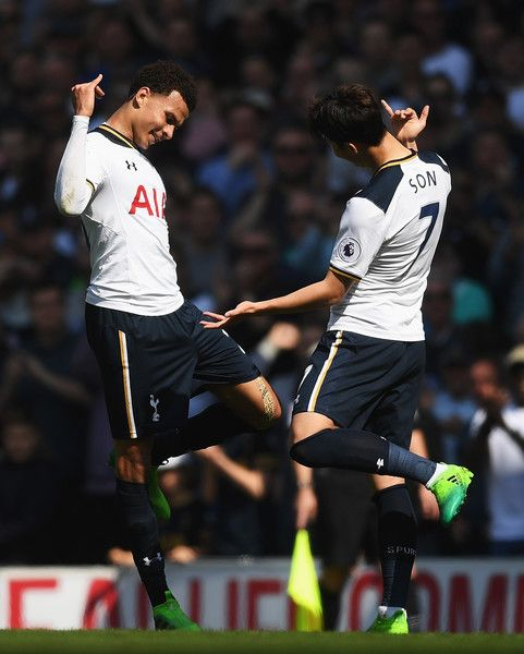 Dele Alli of Tottenham Hotspur (L) celebrates scoring his sides first goal with Heung-Min Son of Tottenham Hotspur (R) during the Premier League match between Tottenham Hotspur and Watford at White Hart Lane on April 8, 2017 in London, England.