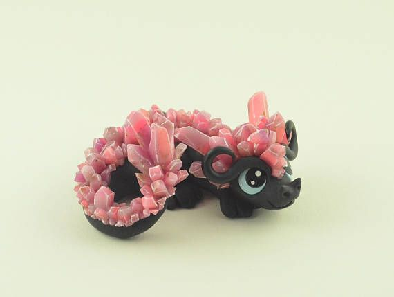 Ruby Crystal Dragon figurine, handcrafted dragon sculpture, polymer clay fantasy creature, cute kawaii miniature dragon art, handmade statue