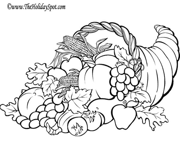 Various cornucopias - some are coloring pages