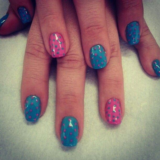 Blue and pink polka dots