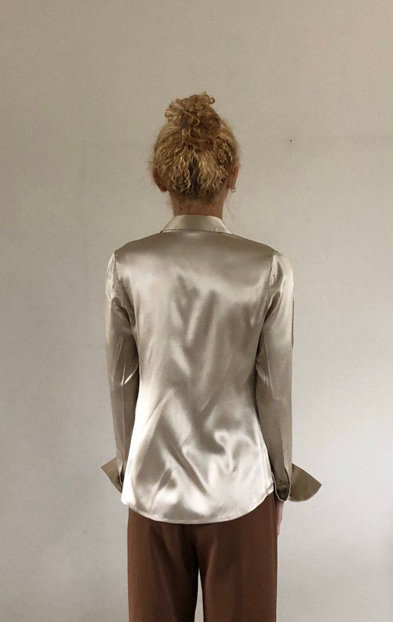 32afab58878ab1 90s silk charmeuse blouse champagne silk button down shirt / | Etsy