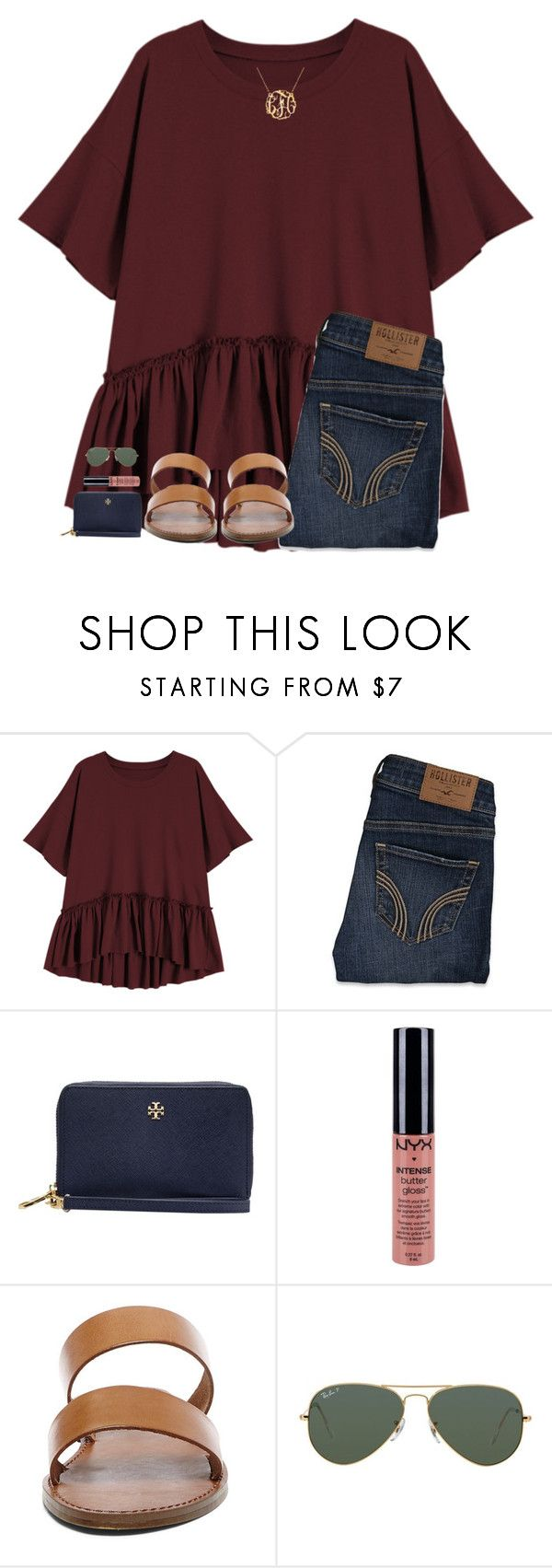 """""""rlly not ready for school"""" by hgw8503 ❤ liked on Polyvore featuring Hollister Co., Tory Burch, NYX, Steve Madden and Ray-Ban"""