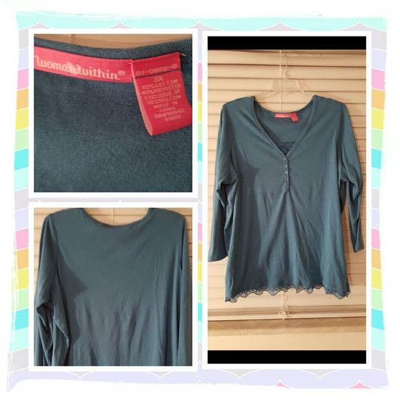 Light Blue Top Size 3X FINAL REDUCTION This is a pretty long sleeved tunic from woman within size is 3X it's a teal blue color there's a lace insert and lace on the bottom of the top adds a nice touch great with jeans or a skirt. Excellent Condition No Tears, Stains Or Signs Of Wear POSTED ON MERCARI CODE: CQUAAW  Woman Within Tops Tunics