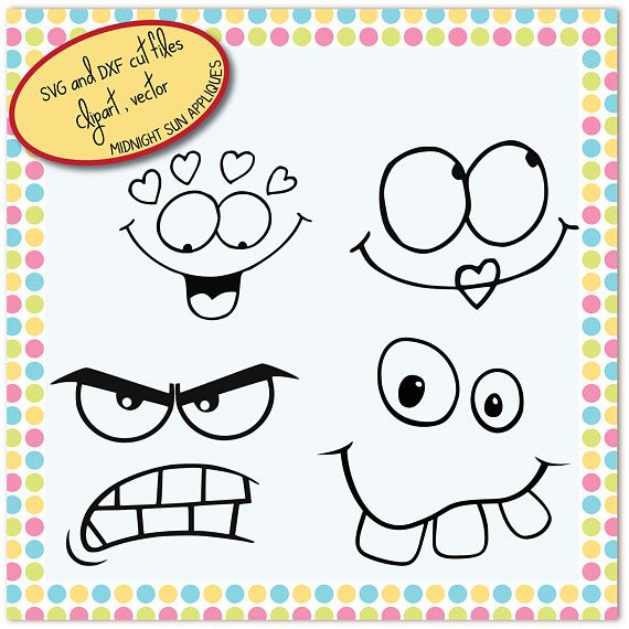 SVGDXFclipart Faces svg angry face funny face kiss