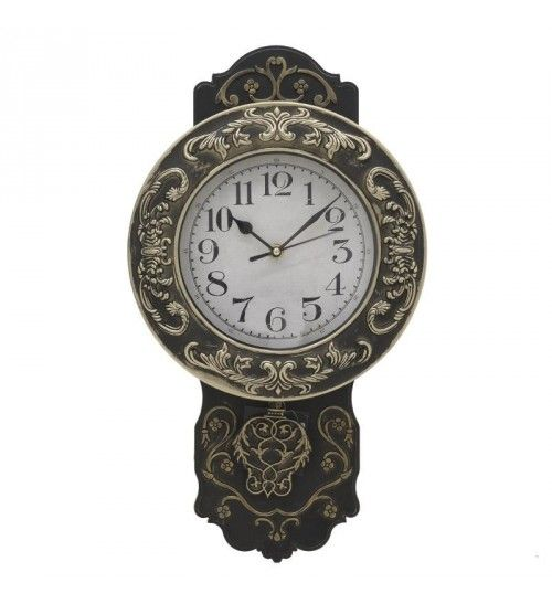 PL WALL CLOCK 'PENDULUM' ANTIQUE GOLDEN 25X8X27