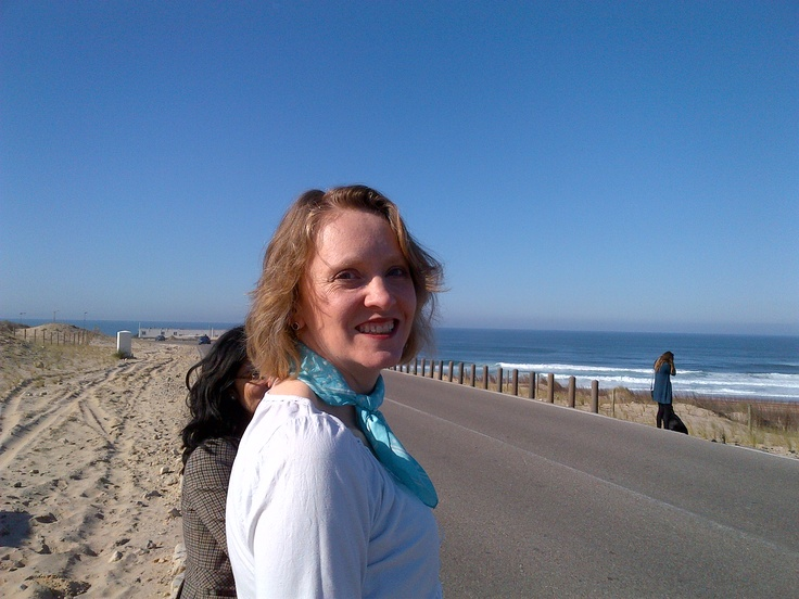 Kate takes a moment to savour the view and the weather on the Estoril coast - in January!