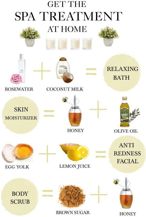 DIY Home Spa Treatment- in the right jars, these could be given as gifts for Christmas, birthdays, or anytime.