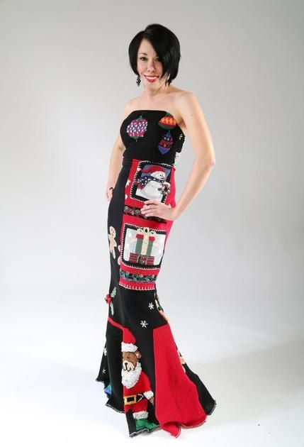 From 6 Tacky Christmas Sweaters to 1 truly epic Tacky Christmas Sweater Gown!  :)