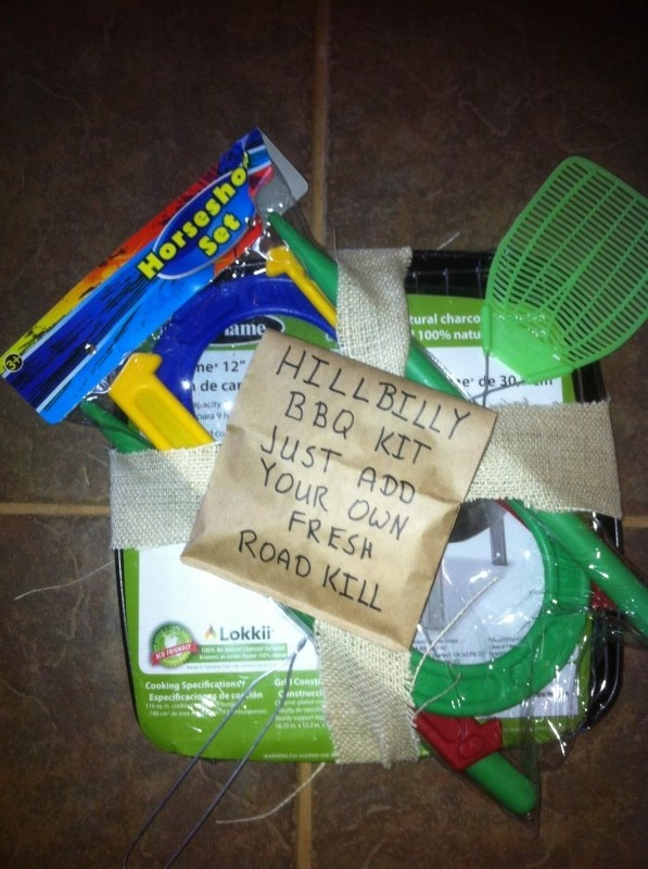 Hillbilly Prize...Disposable BBQ Pit,Matches, Horseshoes,Fly Swat,Matches,Tooth pick and Hand Wipes.