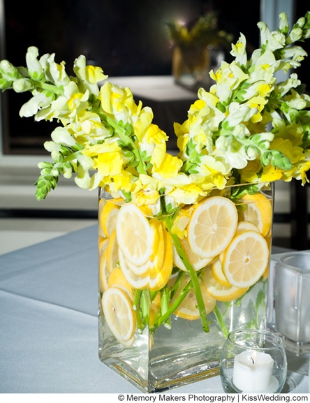 Fruit Wedding Centerpiece Get Rid Of The Lemons And Yellow Flowers