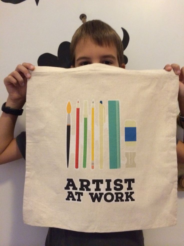 Artist at work tote bag. Quick And easy transfer paper project.  Design by me, tyrannical art direction by my oldest boy!