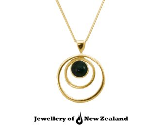 Like a drop of water rippling ,a piece of New Zealand jade setting in 9k gold.