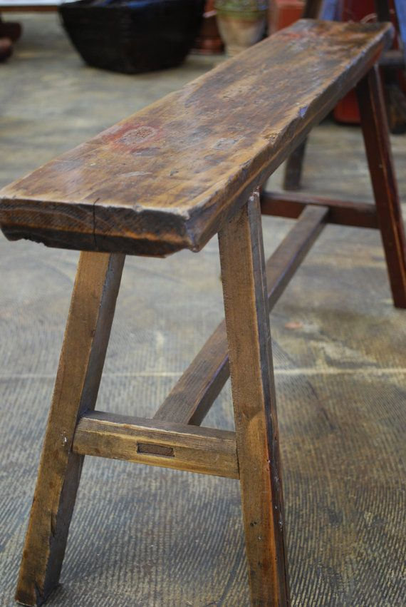 Reclaimed Rustic Wood Stool Bench
