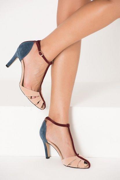 Pudra Mavi Süet Bilekten Bağlamalı Kadın Topuklu Ayakkabı