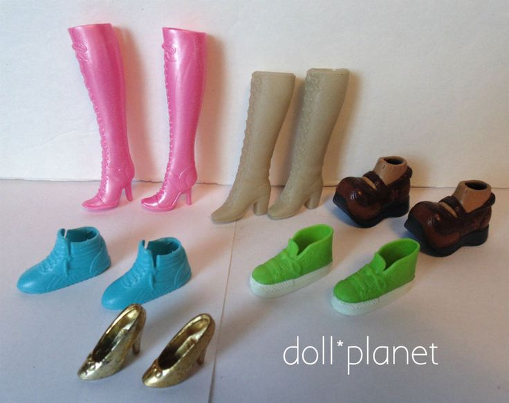 Lot of BARBIE Boots and Shoes 6 pairs Tan Pink Green Blue runners Brown Gold  | eBay