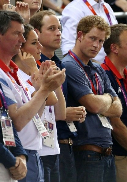 Catherine Duchess of Cambridge, Prince William and Prince Harry cheer as Great Britain and 5th time gold medalist Chris Hoy, along with Jason Kenny and Philip Hindes won the men's team sprint at the Velodrome in the Olympic Park during the London Olympic Games 2012 in London, August 2, 2012.