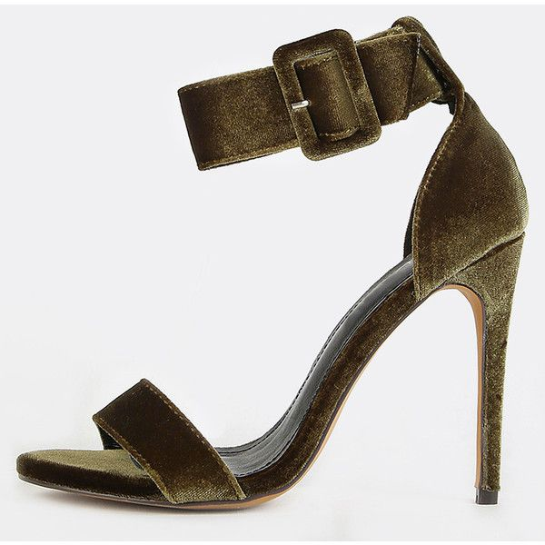 Velvet Open Toe Single Sole Heels OLIVE ❤ liked on Polyvore featuring shoes, army green shoes, open toe shoes, velvet shoes, olive shoes and olive green shoes