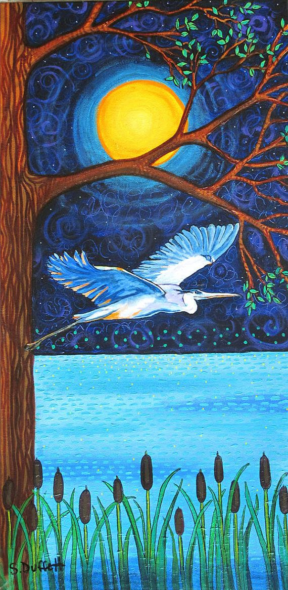 Blue Heron Moon, First Nation, Nature,blue water night by Shelagh Duffett www.facebook.com/shelaghduffett.art