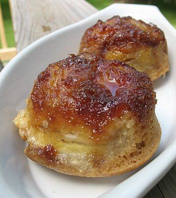 Banana Upside Down Muffins with rum caramelized bananas?!?! It's pretty much banana fosters but in muffin form.