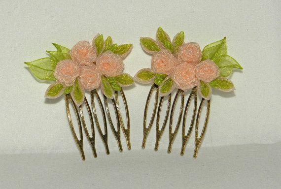 Набор гребней Розы Кремовый и зеленый от LazuritLouise на Etsy