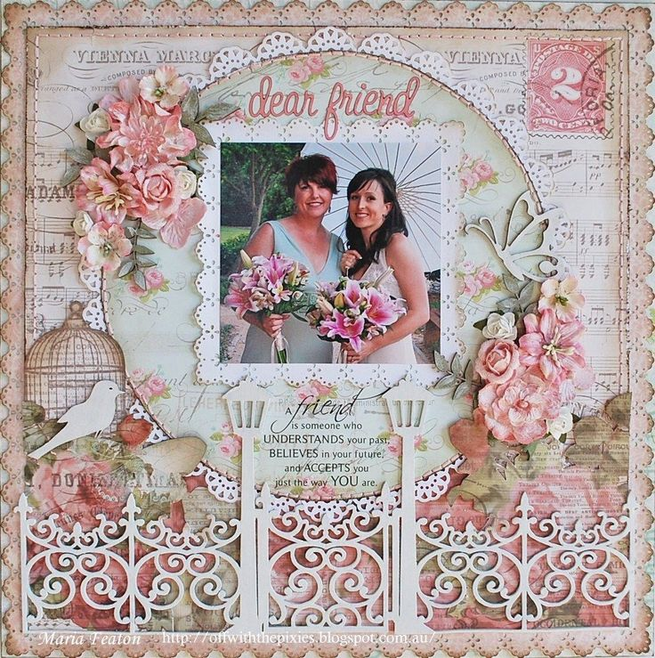 """Wedding layout - this is lovely ... i love the scrollwork fence, birdcage and dove, round element above framed with flowers, the """"2"""" unless it is significant is distracting to my eye, love the colors and scalloped and doily work - very nice layout #weddingscrapbooks"""