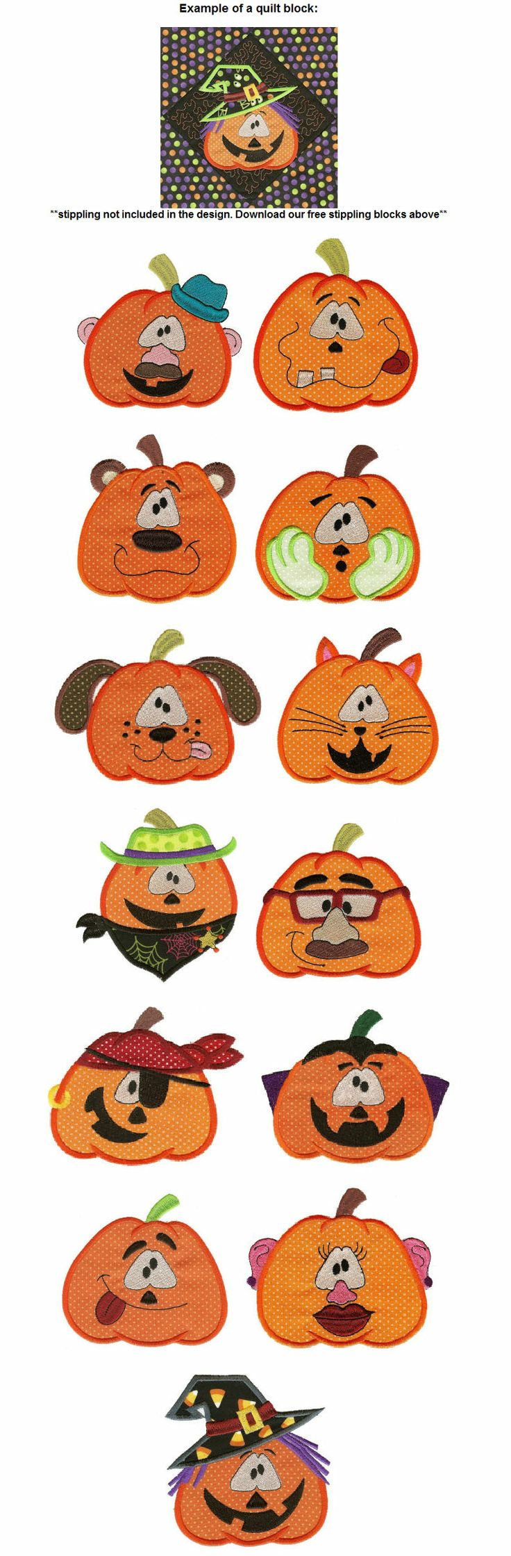 Pumpkin Head Applique from JuJu designs. Good for making a quilt block and example is on this page. I have these designs.