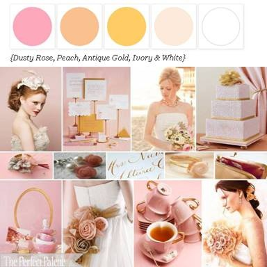 Dusty Rose, Blush Pink, Peach, Antique Gold, Ivory & White - my