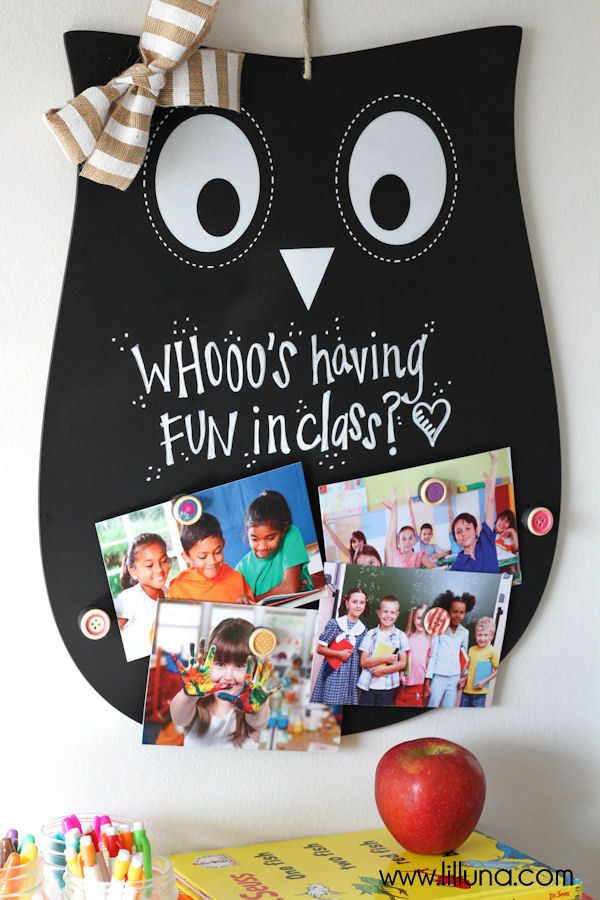 CUTE DIY Owl Teacher Gift - a magnet and chalkboard sign