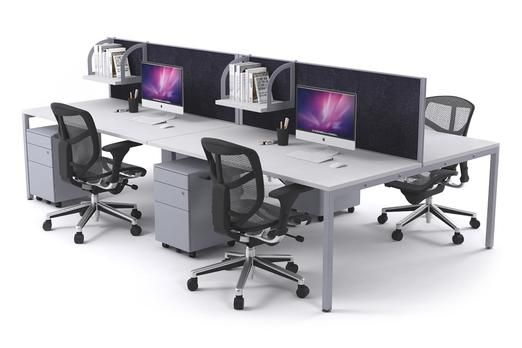 Litewall 2000 Leg 4 Person Office Workstation Silver Square. The commercial grade Litewall workstation is the quintessential group desk system. Choose between city cream, charcoal ash and blue ocean fabric desk screens.