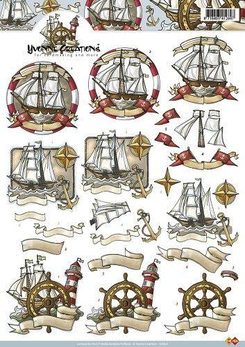 Knutselkraam.nl | 3D A4 Knipvel Yvonne Creations - Maritiem schepen HJ8601