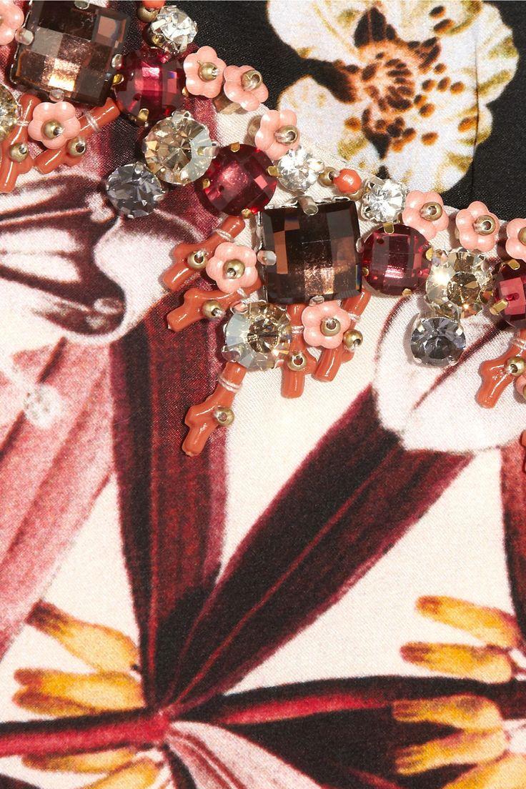 Biyan|Alona embellished printed silk-satin dress|NET-A-PORTER.COM