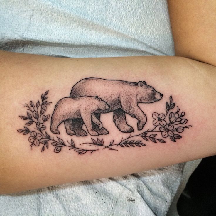 beautiful floral bear and cub tattoo