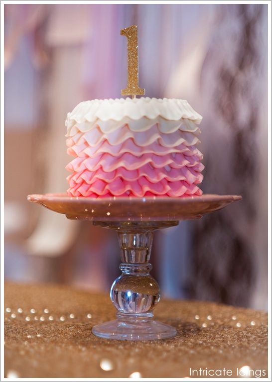 A Little Pink Ombre Ruffles Smash Cake For A Pink Sparkle Birthday Party