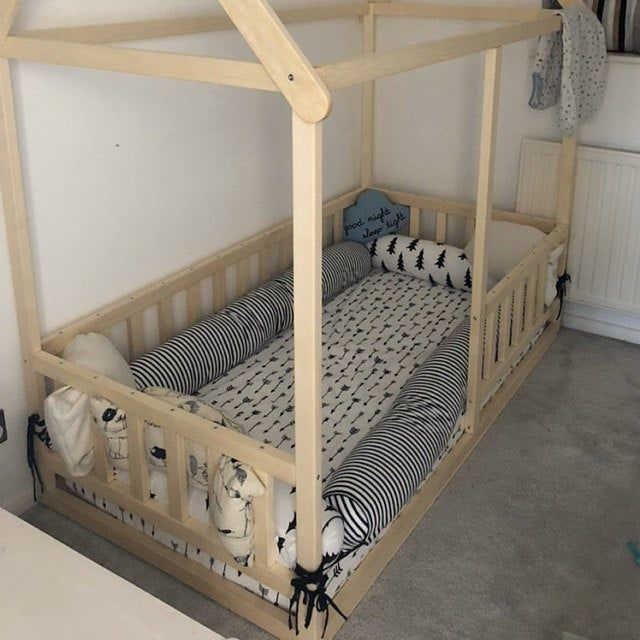 Painted With Eco Paint Bunk Bed With Trundle Montessori Floor Etsy Kid Beds Painted Bunk Beds Toddler Bed